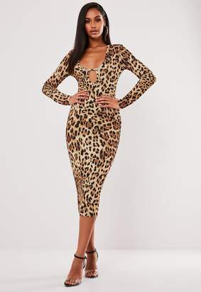 Missguided Brown Leopard Print Keyhole Plunge Midi Dress