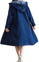 Feianna Womens Long Denim Jacket Spring Popular Trench Coat Plus Size XL