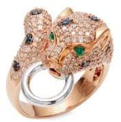 Effy Diamond, Emerald and 14K White and Rose Gold Ring