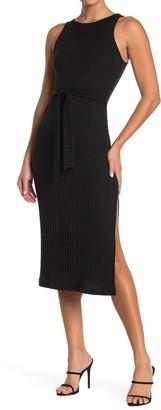 GOOD LUCK GEM Ribbed Tie Waist Slit Midi Dress