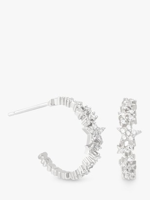 Astrid & Miyu Mystic Cubic Zirconia Star Hoop Earrings, Silver