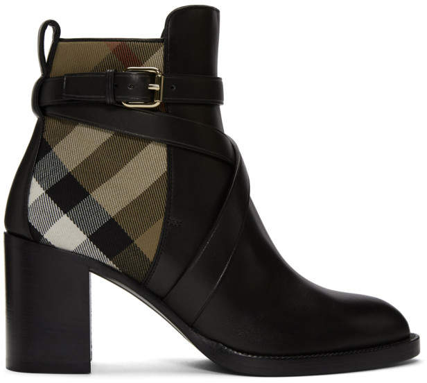 Burberry Black and Beige Check Vaughan 70 Ankle Boots