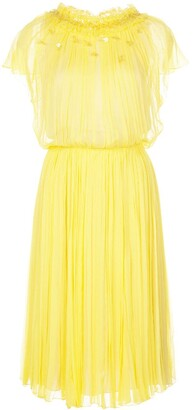 Jason Wu Collection Pleated Short Sleeve Dress