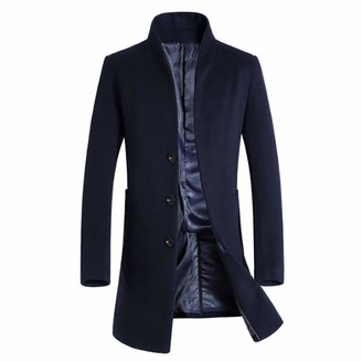 HOMEBABY Men Long Trench Blazer Jacket Wool Blend Slim Fit Coat Long Sleeve Tops Autumn Winter Warm Button Closer Quality Business Sweater Outwear Pullover Jumper Navy