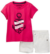 True Religion Anchor Tee & Short Set (Toddler Girls)