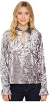 Romeo & Juliet Couture Knit Crushed Velvet Keyhole Blouse