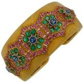 Buccellati 18K Yellow Gold Ruby Sapphire and Emerald Cuff Bracelet