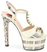 Gucci Angel Leather & Snakeskin Peep Toe Platform T-Strap Sandals
