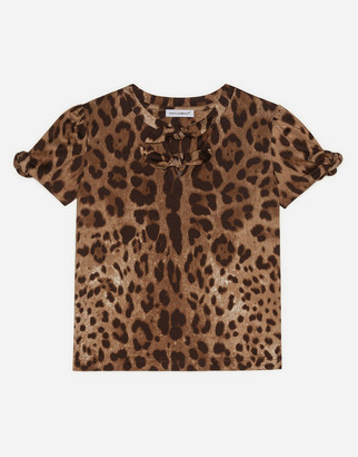 Dolce & Gabbana Jersey Top With Leopard Print