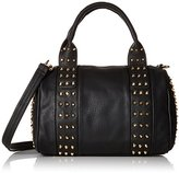 MG Collection Gothic Studded Barrel Convertible Top Handle Bag