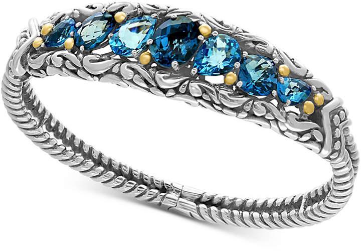 Effy Ocean Bleu London Blue Topaz (7-1/2 ct. t.w.) and Swiss Blue Topaz (5-1/8 ct. t.w.) Bracelet in Sterling Silver and 18k Gold