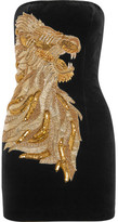 Balmain Strapless Embellished Velvet Mini Dress - Black