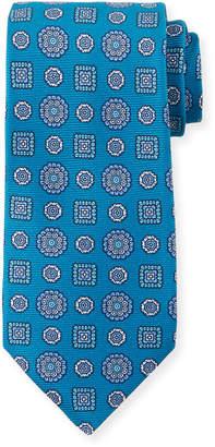 Kiton Men's Multi Medallions Tie, Aqua