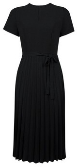 Dorothy Perkins Womens Black Keyhole Pleated Midi Dress With Pleated Skirt, Black