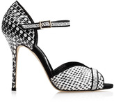Oscar de la Renta Christina Printed Snakeskin Sandals