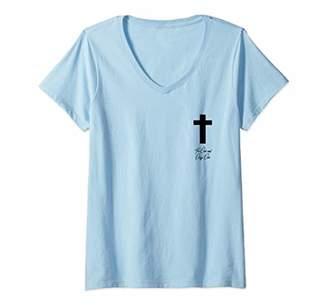 Womens Christian Cross Jesus Top Right Corner | Religion | Simple V-Neck T-Shirt