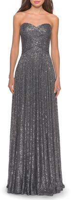 La Femme Sequin Strapless Sweetheart Column Gown