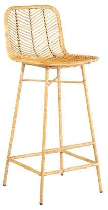 PARADISO East at Main Rattan Bar Stool with Wrapped Metal Legs Natural