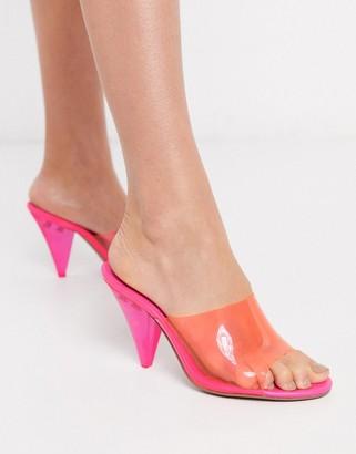 ASOS DESIGN Notify heeled mules in hot pink