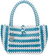 Betsey Johnson Women's Handbags BLU - Blue & White Just Bead It Mini Tote