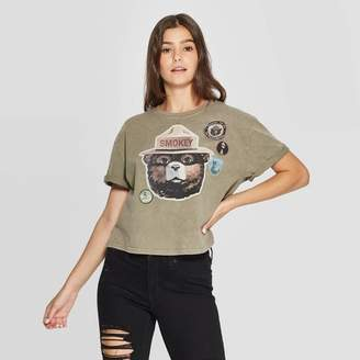 Smokey Bear Women's Smokey Bear Short Sleeve Graphic Cropped T-Shirt (Juniors') - Olive Green Wash