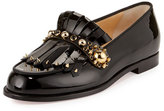 Christian Louboutin Octavian Patent Kiltie Red Sole Loafer, Black
