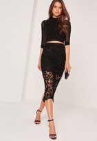 Missguided Crochet Lace Midi Skirt Black