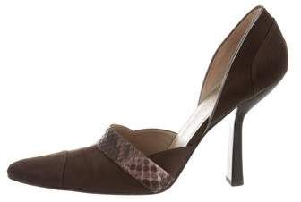 Gucci Snakeskin-Accent Pointed-Tow Pumps