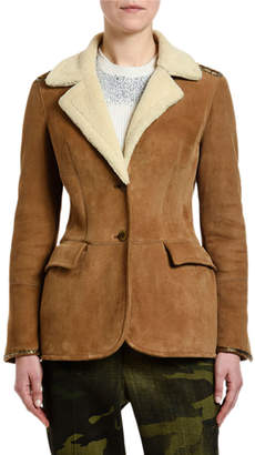 Ermanno Scervino Goat-Suede Faux-Shearling Collar Coat