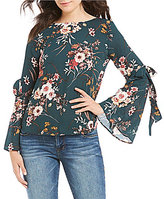 Moa Moa Floral Printed Tie Bell Sleeve Top