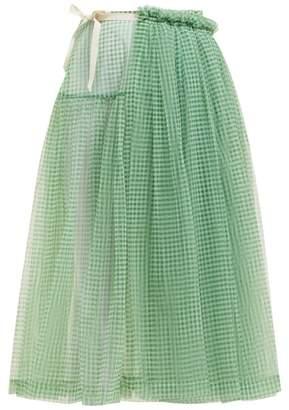 Molly Goddard Lettie Gingham Tulle Wrap Midi Skirt - Womens - Green
