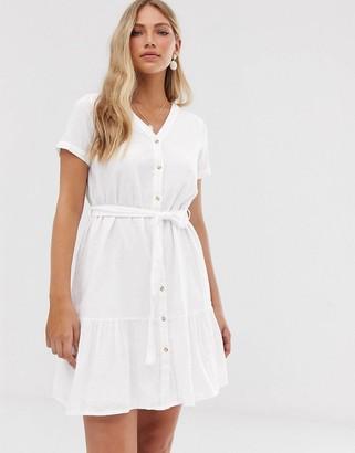 Vero Moda button front pephem dress-White