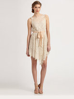 Ali Ro Ribbon-Sash Lace Dress