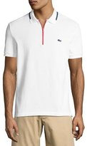 Lacoste Quarter-Zip Polo Shirt, White/Red