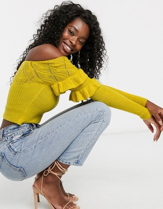 ASOS DESIGN off shoulder knit top with ruffle and stitch detail