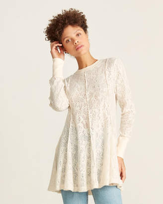Free People Lace Knit Coffee In The Morning Tunic