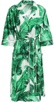 Dolce & Gabbana Belted Printed Silk-faille Shirt Dress