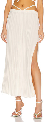 CHRISTOPHER ESBER Pleated Knit Tie Skirt in Natural | FWRD