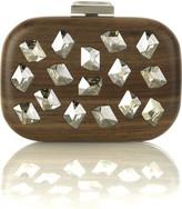 Crystal wooden clutch