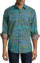 Robert Graham Rosselli Square-Print Poplin Shirt, Multi