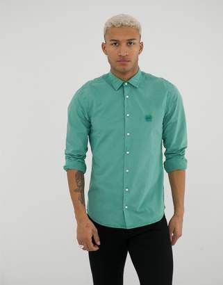 BOSS Mypop slim fit poplin shirt in green