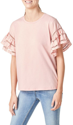 French Connection Flutter Sleeve T Shirt