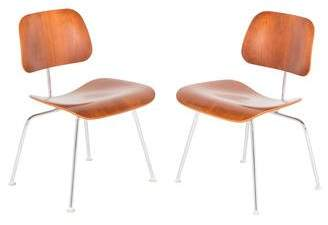 Herman Miller Pair of Eames DCM Molded Plywood Chair