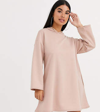 Asos DESIGN Petite hoodie swing dress with concealed pockets in camel-Beige