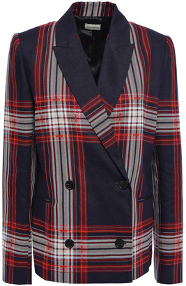 By Malene Birger Double-breasted Checked Linen And Cotton-blend Blazer