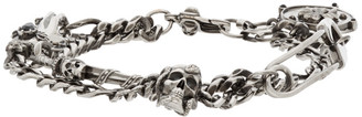 Alexander McQueen Silver Safety Pin and Medallion Chain Bracelet