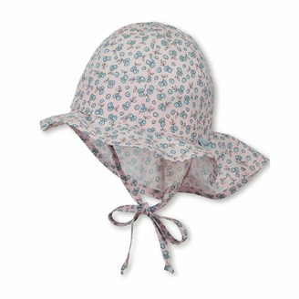 Sterntaler Girls Sun Hat with Ties Neck Protection and Flower Pattern Age: 18-24 months Size: 51 Pale Pink