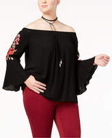 Soprano Trendy Plus Size Off-The-Shoulder Peasant Top