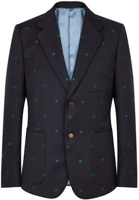Gucci Navy Embroidered Wool Jacket
