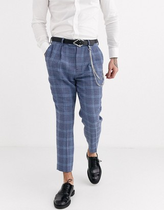 ASOS DESIGN smart tapered trousers in blue check wool mix and pocket chain